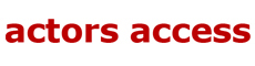 Actors Access logo with red lettering on white background