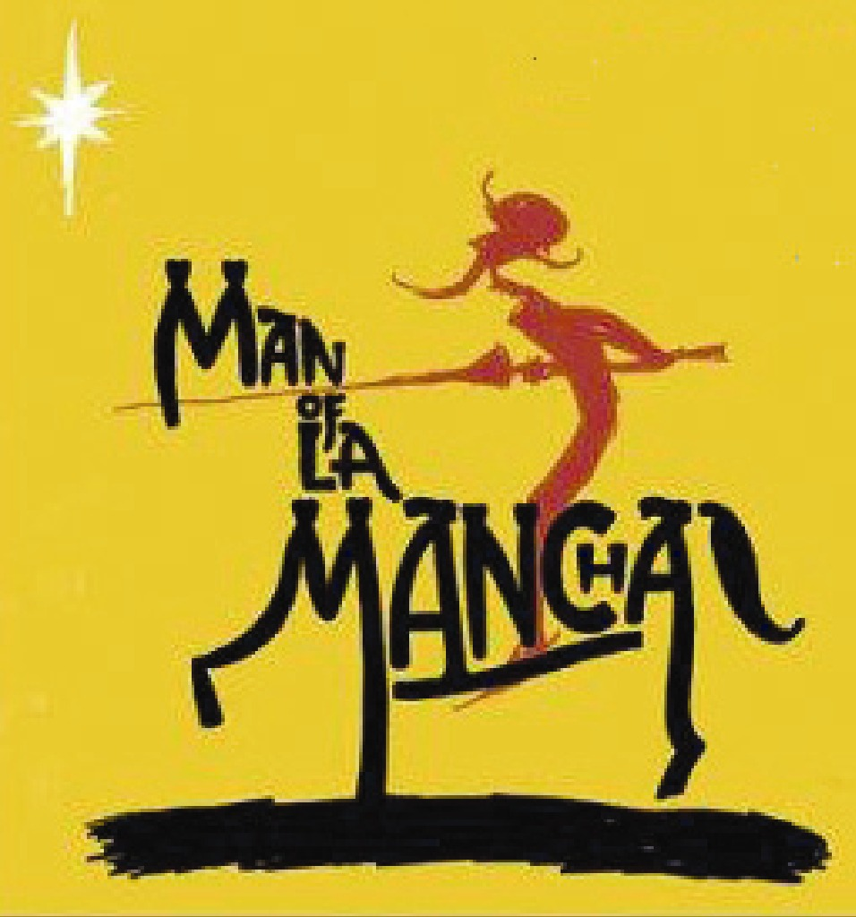 Man OF La Mancha Logo with Black lettering on yellow background